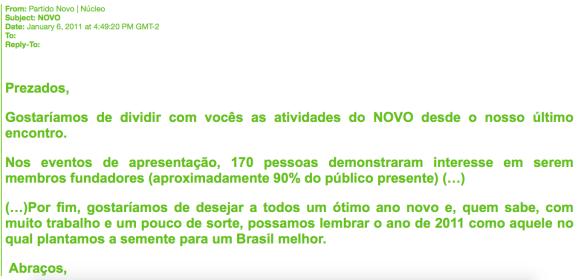 E-mail sobre a fundação do Partido NOVO