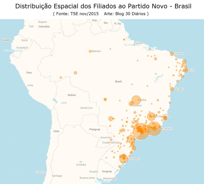 Partido Novo - Mapa de Distribuição Espacial dos Filiados - Brasil