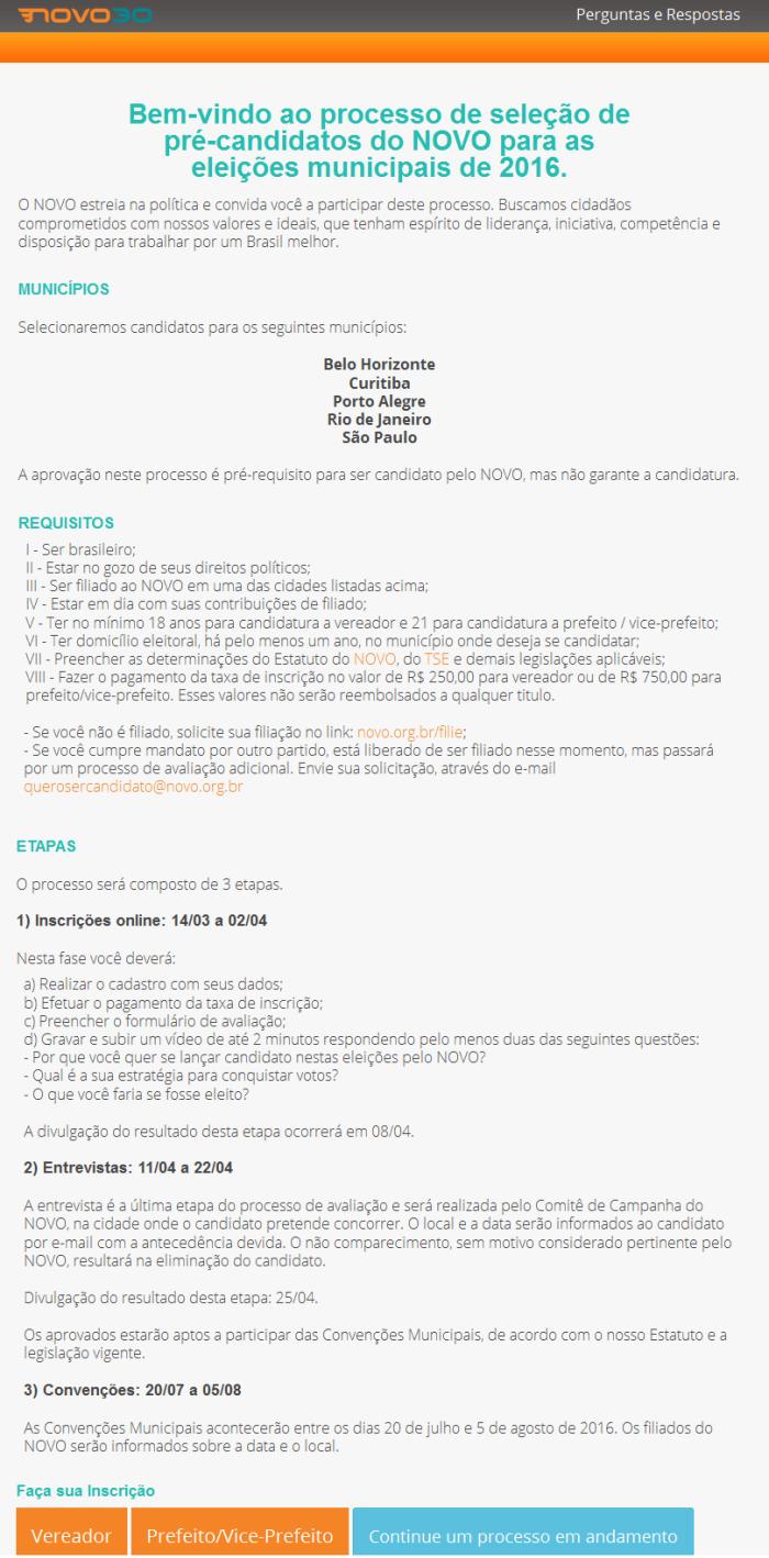 Mensagem enviada aos filiados com os detalhes do processo seletivo dos pré-candidatos do NOVO