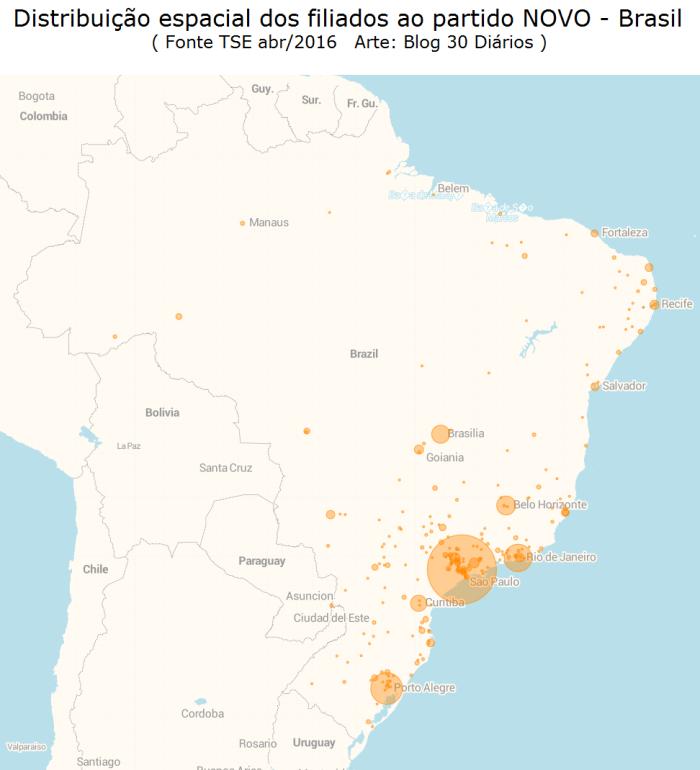 Distribuição espacial dos filiados do Partido NOVO pelos municípios e Estados do Brasil - TSE 2016 - Blog 30 Diários