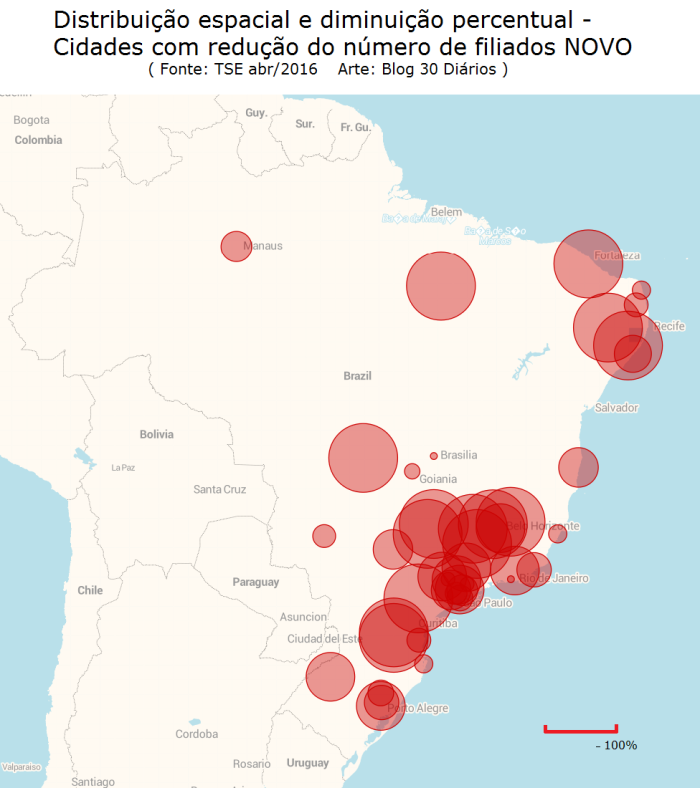 Distribuição espacial e diminuição percentual do número de filiados do partido NOVO (Fonte: TSE - out/15 a abr/16)