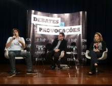 Carina Vitral, presidente da UNE, e Joel Pinheiro, membro do Partido Novo, discutiram sobre a participação dos jovens na política (Foto: Gabriela Varella/ÉPOCA)