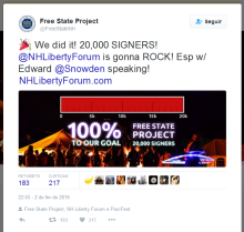 META Atingida em fev/16 - 20.000 libertários assinaram termo se comprometendo a mudar para NH!