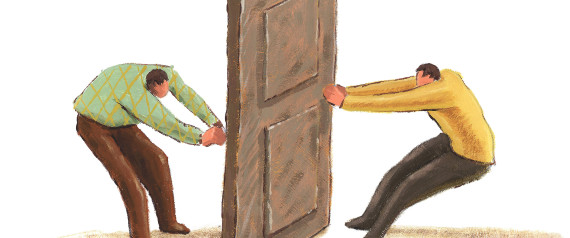 two men pulling a door knob from opposite sides of the same door